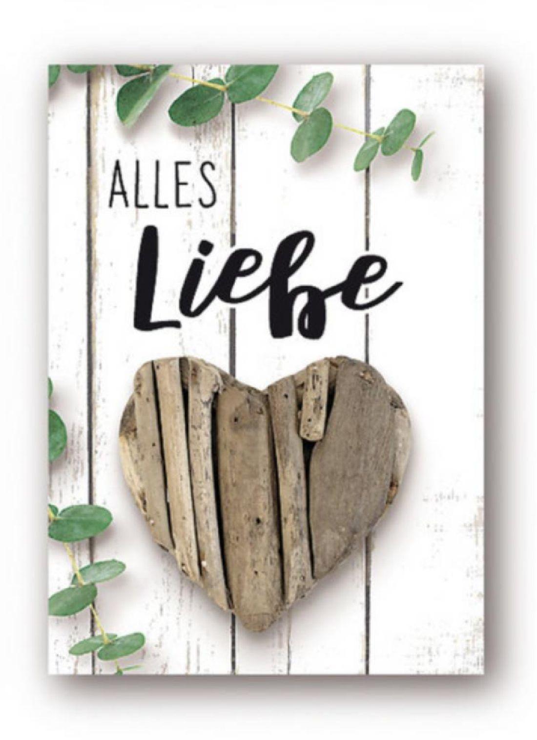 Minikarten Alles Liebe - mit Holzklammer Urban Jungle 9407