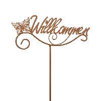 Gartenstecker Willkommen Rostop. 77813Gartenstab Metall 27x109cm Schrift+Schmetterling