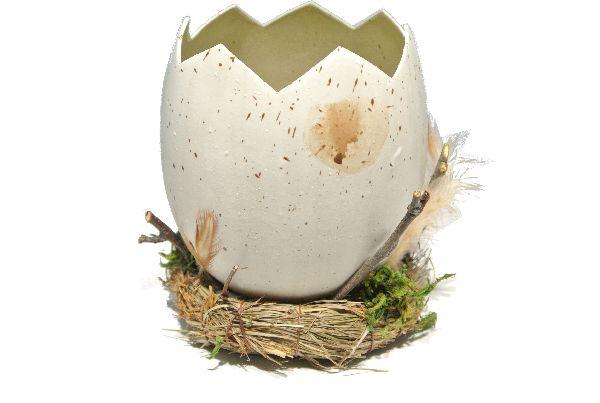 Ei gebrochen /Pflanzei im Nest NATUR  52300015 Ø8xH11cm