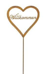 Gartenstecker Herz Willkommen ROST 562360 30xH30cm + 110cm Stab