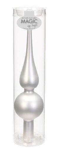 Christbaumspitze - Glasspitze WEISS-SILBER MATT  L:25cm Weihnachtsbaumspitze B:6cm