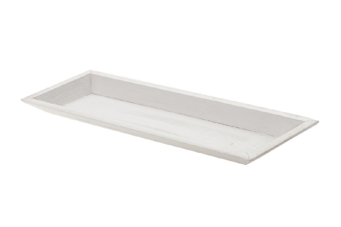 Tablett / Holztablett WEISS 10825 39x15xH2,5cm Dekotablett