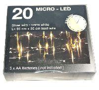 LED Lichterkette 990220 Drahtlichterkette Timer 20 LED 90cm warmweiß 3xAA Batt
