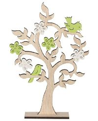 Dekobaum Frühlingsbote natur-weiss-grün 37033 26x6x39,5cm (LxBxH) Holz