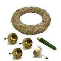 Adventskranz DIY Bastelset gold 4xTeelicht-Kerzenhalter Ø25cm Strohkranz + Wickeldraht