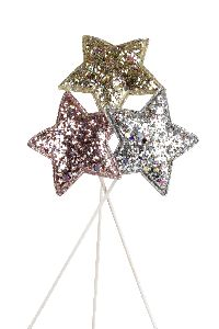 Sternstecker Glitterstar ROSA-GOLD-SILBER 20764315 Ø6cm GL:27cm Poly