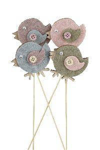 Vogel Wollart altrosa-rosa-grün-blau21761306 Stecker 6cm GL:28cm Holz-Filz