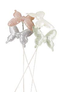 Paillettenstecker Softcandy creme-grau-lachs-mint 21761318 Schmetterling 6,5cm Wippick