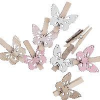 Holzklammer Schmetterling rosa-natur  67962 ca. 4x4,5cm Wäscheklammer