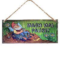 Metallschild Gartenzwerg MACH MAL PAUSE! 30,5x13cm + Schnur 68529
