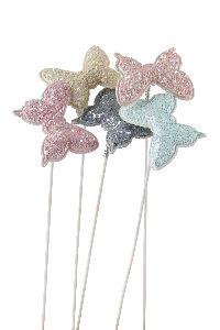 Schmetterling Glitter Stecker rosa-creme-mint-grau-apricot 5cm GL:27,5cm