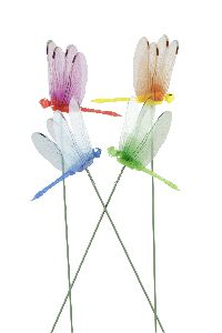 Libelle am Pick pink-grün-gelb-blau 21421306 9cm GL:26cm Polyester